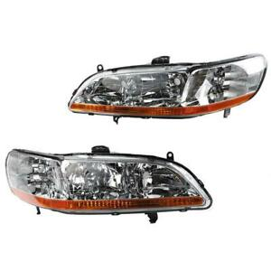 Pair Of Headlights Headlamps Housing Chrome For 2007 2008 2009 Nissan Altima