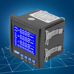 3 phase Lcd Digital Multifunction Meter Energy Accumulation Rs485 V A Hz Q P Ark