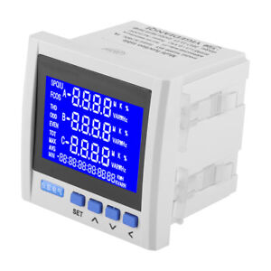 3 phase Lcd Digital Multifunction Power Meter Energy Monitor Rs485 V A Hz Q P