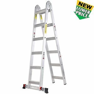 Toprung 12 Feets 2 In 1 Aluminum Extension Ladder With Wheels 300lbs Duty