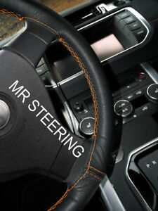Black Leather Steering Wheel Cover For Jeep Patriot 2011 Orange Double Stitch