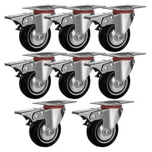 8 Pack Quality 3 Swivel Caster Wheels W double Bearing Brake Non Skid No Mark