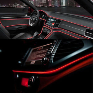 Red Led Car Auto Interior Decorative Atmosphere Wire Strip Light Lamp 2m 12v