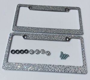 2 License Plate Frames Screw Cap Crystal Diamond Rhinestone Bling Mix Clear