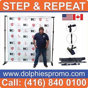 Lot Of 2 Step And Repeat Telescopic Wall Banner Stands 95 96 frames Bag