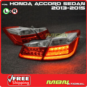 2013 2015 For Honda Accord 4d Jdm Style Led Tail Light Lamp Red Clear Conversion