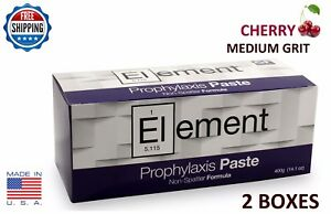 2 Boxes Element Prophy Paste Cups Cherry Medium 200 box Dental W fluoride