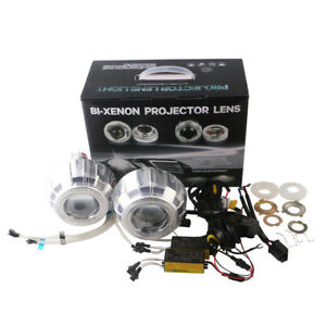 3inch Car Bi Xenon Hid Projector Lens Kit With Double Angel Eyes Bulbs H1 H4 H7