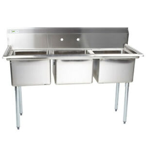 60 Nsf Stainless Steel 3 Compartment Commercial Pot Sink Without Drainboards