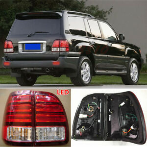 2x Led Tail Lights Rear Lamps Red Whitetrim For Lexus Lx470 1998 2002