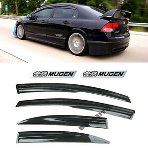 For 06 11 Honda Civic Jdm Si Window Rain Visor Mugen Style Emblems Sedan 4dr