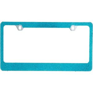 7 Rows Bling Light Blue Crystal Rhinestone Metal License Plate Frame Caps