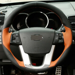 Diy Steering Wheel Cover Orange Black Leather Hand Sewing For Kia Sorento 09 14