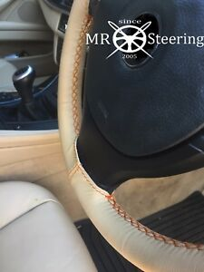 Fits 2006 Dodge Caliber Beige Leather Steering Wheel Cover Orange Double Stitch
