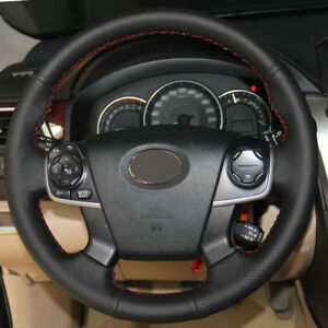 Diy Steering Wheel Cover Black Leather Hand Sewing For Toyota Camry 2012 2015