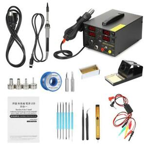 909d 4 In 1 Rework Soldering Station Hot Air Gun Dc Power Supply Phone Repair