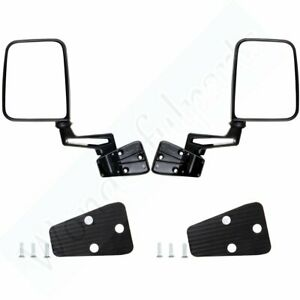 Manual Side View Black Door Mirrors Left right For 87 02 Jeep Wrangler Pair Set