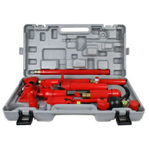 10 Ton Porta Power Hydraulic Jack Garage Autobody Frame Repair Lift Ram Tool Kit