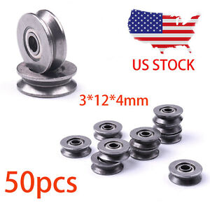 50pcs Metal V Groove Guide Pulley Rail Ball Bearings Wheel 3 12 4mm Us Stock