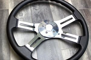 4 Spoke Steering Wheel 18 Black Freightliner Kenworth Peterbilt Volvo