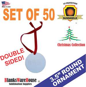 3 5 Round Christmas Ornament Double Sided Sublimation Blanks 50 Pieces