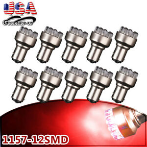 10x Super Bright Red 1157 12smd Led Tail Brake Stop Turn Signal Light Bulbs 1152