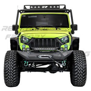 Front Bumper Winch Plate 21 22 Light Bar Led Mount Fit 07 18 Jeep Jk Wrangler