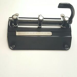 Vintage Cast Iron Metal Adjustable 3 Hole Paper Punch Master Products Model 3 25