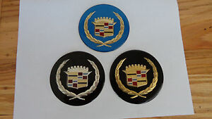 Cadillac Wire Wheel Cover Center Cap Medallions 4pc Set Blue Or Black Ins