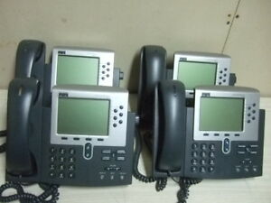 Lot Of 4 Cisco Ip Phone Voip W Handset Stand 7960 Business Display Telephone