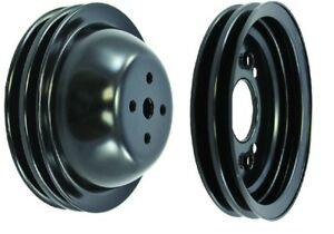 Bb Chevy 396 454 Pulley Kit Black Steel Swp Pulleys 2 Groove New Kit Bbc Camaro