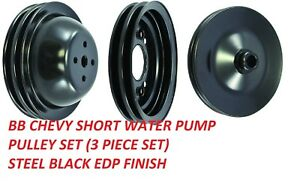 Bb Chevy 396 454 Pulley Kit Black Steel Swp Pulleys Power Steering New Kit Bbc