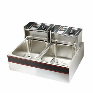 Electric Deep Fryer Dual Tank Electric Countertop Double Basket Stainless Steel