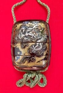 Japanese Edo Period Lacquerware Inro With Silver Gold Overlay Dragon Tiger