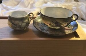 Antique Hand Painted Japanese Tea Cups And Saucer With Dragons Hallmarked