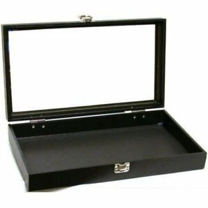 Jewelry Showcase Display Case Glass Top Portable Travel Box Black Free Ship