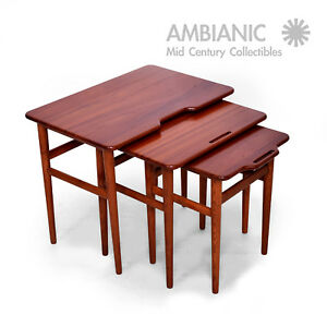 Mid Century Danish Modern Teak Nesting Tables Set Of Three