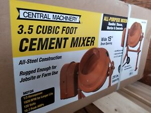 Central Machinery 3 1 2 Cubic Ft Cement Mixer Stucco Mortar Concrete Mixing