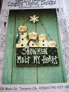 Primtiive Snowman Sign Family Pattern Packet Wood Oop Just Friends Monica Wilson