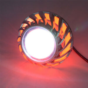 Led Projector High Low Beam Headlight For Motorcycle Angel Eyes Devil Eye Red