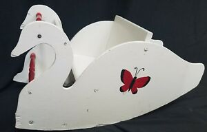 Vtg Mid Century Primitive White Swan Shoo Fly Wooden Rocker Hand Crafted