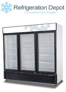 Migali C 72rm Glass Door Merchandiser Three Door Refrigerator 72 Cu ft