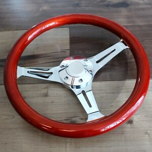 14 Universal 3 Spoke Steering Wheel Wood Grip 6 Hole Hot Rod Chevy Ford
