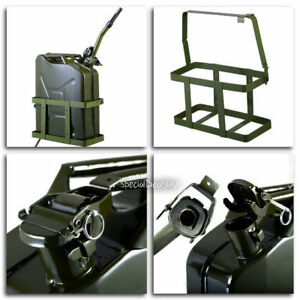 Jerry Can 5 Gallon 20l Gas Fuel Army Metal Steel Tank Holder Nato Military