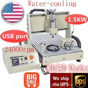 1500w 4axis 6040 Usb Vfd Cnc Router Engraver Metal Wood Carving Drilling Milling