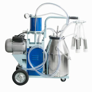 Electric Milking Machine W 25l Bucket Milker For Dairy Farm Goats Cows Cattle Ca