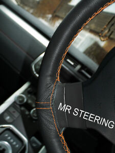 Leather Steering Wheel Cover For Mercedes E Class 09 W212 Orange Double Stitch