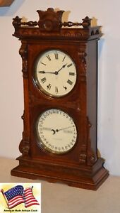 Restored Seth Thomas Parlor Calendar 11 1891 Antique Clock In Dark Fumed Oak