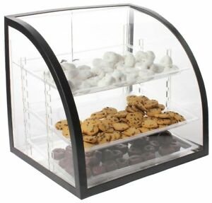 Countertop Bakery Display Case Clear Acrylic With Black Metal Frame Doors And