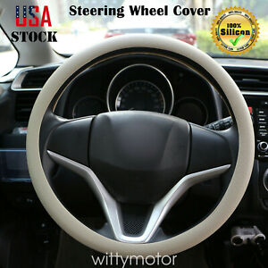 Universal Auto Car Steering Wheel Cover Fit Car Truck Silicone Protector Beige